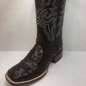 Men's Square toe ostrich print leather boots
